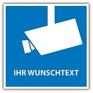 ausgeschildert24 Schild, Hinweisschild Videoüberwacht mit Ihrem WUNSCHTEXT - Alu-Verbundmaterial - Wetterfest (10 x 10cm)