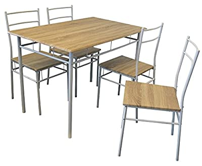 Harbour Housewares 5 Piece Kitchen Dining Table & Chairs Set - White - cheap UK dining table store.