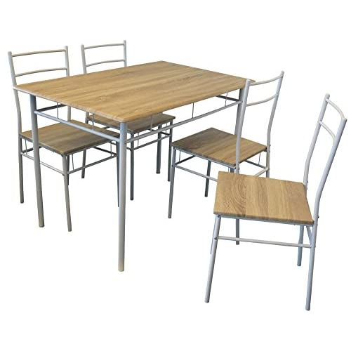 Harbour Housewares Rectangular Wooden Kitchen Dining Table with 4 Matching Chairs - Modern 5 Piece Set - White