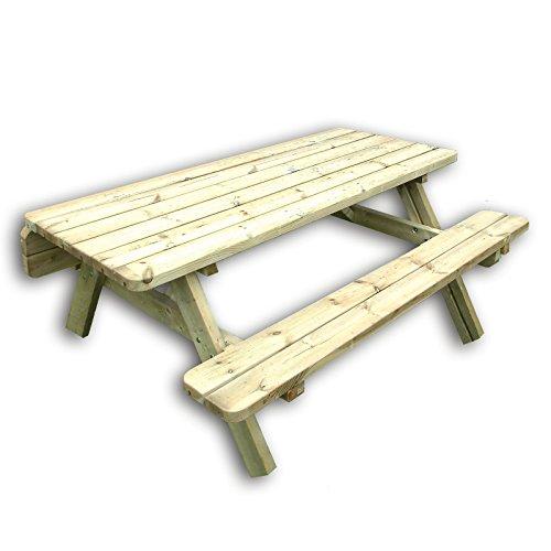 Gartenpirat Picknicktisch für 4-6 Erwachsene Biertisch aus Holz Pinie massiv kesseldruckimprägniert