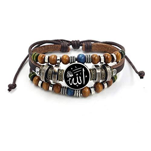 WDAIJY Damen Armband,Vintage Islam Allah Perlen Leder Armband Glas Cabochon Charme Druckknopf Armbänder Für Männer Frauen Muslimischen Schmuck Zubehör