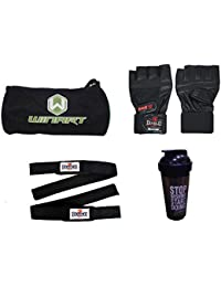 Diablo Home Gym Combo Of Gym Bag,Gym Gloves,Straps And Diet Shaker Bottle - B07B8F2R2F