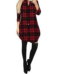 780699af2dd5 Damark Mini Abiti Donna Invernali Casuale Manica Lunga Scozzese Camicia Abito  Donna Eleganti da Cerimonia Vestito