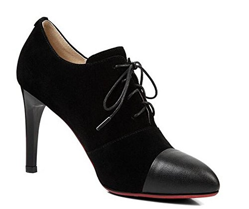 Beauqueen Pompini Stiletto Alta tacco Punta a forma di mandorla Oxford Lace-Up 2017 Primavera Estate Fashion Casual Office Shoes Europa Size 34-39 Black