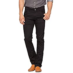 Spykar Mens Black Slim Fit Mid Rise Trousers (30)