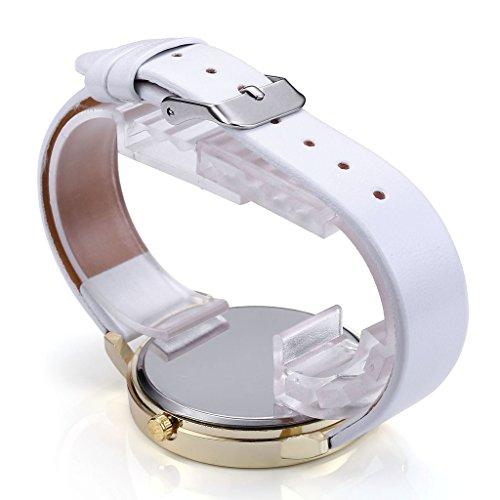 JSDDE Vintage Blumen Vogel Armbanduhr Basel-Stil Weiß Quarz Uhr + Traumfänger Anhänger Armband Halskette Geschenk Set - 3