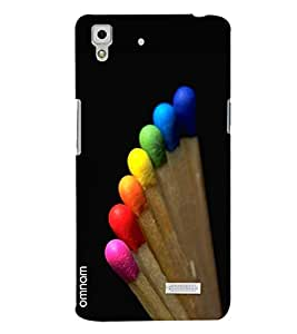 Omnam Matchstick Colorful Led Rainbow Designer Back Cover Case for Oppo R7