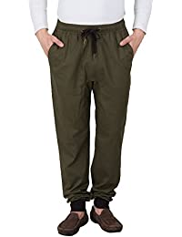 Hypernation Military Green Color Casual Trousers For Men