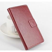 PREVOA Flip PU Funda Case Protictive para InnJoo Note Smartphone 5,5 Pulgadas - Marron -