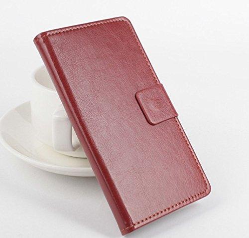 PREVOA ® 丨Flip PU Hülle Cover Case Schutzhülle Tasche für Oukitel U15S 5,5 Zoll Android 6,0 Smartphone - (Braun -)