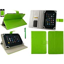 Emartbuy® Alcatel Pixi 3 ( 7 ) 3G / LTE 7 Inch Tablet Universal Range Verde Ángulo Múltiples Executive Folio Funda Carcasa Wallet Case Cover Con Tarjeta de Slots + Verde Lápiz Óptico