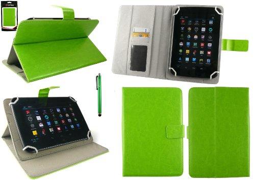 Emartbuy® AlpenTab Heidi 7 Zoll Tablet PC Universalbereich Grün Multi Winkel Folio Executive Case Cover Wallet Hülle Schutzhülle mit Kartensteckplätze + Grün Eingabestift