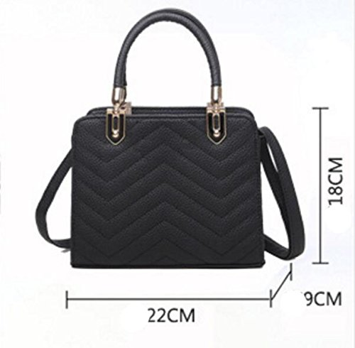 Dame Messenger Tasche Geprägt Checkered Umhängetasche Kleine Quadratische Tasche Handtasche Kortex Black