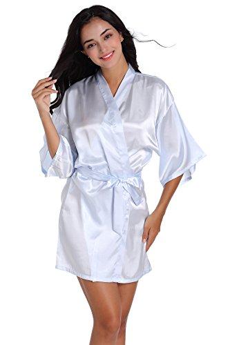 Indumenti da notte in raso per accappatoi Kimono corti da donna Azzurro