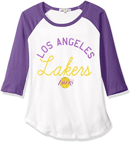 Junk Food Damen Throwback Raglan Vintage NBA Bekleidung, Damen, Women's NBA Throwback Raglan, Electric White/Purple -