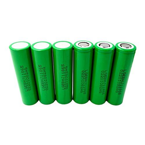 6X LG INR18650-MJ1 Akku 3500mAh 3,7v Lithium-Ionen 18650 Batterie - Ideal für Sub-Ohm Dampfer E-Zigarette Flat Top Flachpol, Menge: 6 Stück