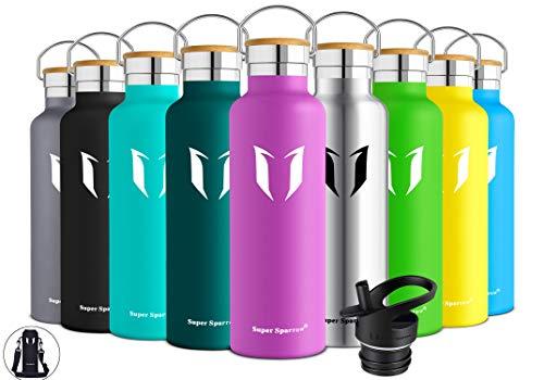 lasche Edelstahl Wasserflasche - 750ml - Isolier Flasche mit Perfekte Thermosflasche für Das Laufen, Fitness, Yoga, Im Freien und Camping | Frei von BPA (Lila) ()