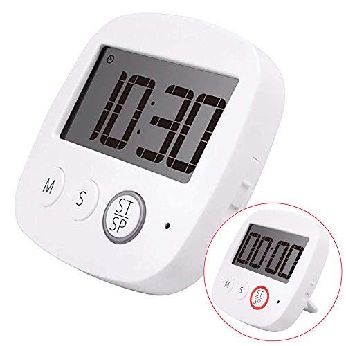 Temporizador de cocina digital, multifunción,para cocina con pantalla LCD más grande y alarma y cuenta regresiva con función de soporte retráctil y gancho y respaldo magnético con batería