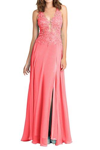La_mia Braut Wassermelon Spitze Neckholder Chiffon Abendkleider Partykleider Promkleider Lang A-linie Wassermelon