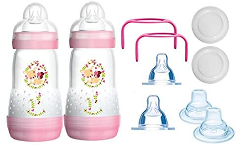 MAM das mitwachsende Flaschen Set - Anti Colic Flaschen, Sauger, Griffe, Schnäbel - 10 teilig -