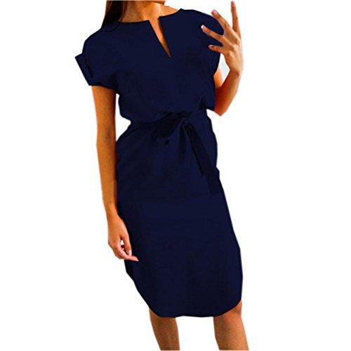 Kanpola Damen Knielang Kleider Frauen Festlich Elegant Casual Rockabilly Bleistift Kleid Minikleid...