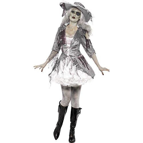 Piratin Zombiekostüm Zombie Piratenkostüm L 44/46 Geister Piraten Kostüm Seeräuber Geist Damenkostüm Pirat Gespenst Geisterkostüm Piratenbraut Halloweenkostüm Karneval Kostüme Damen - Sexy Für Erwachsene Piraten Kostüm