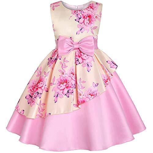 Baby Kinder Blume Hübscher Geburtstag Kleider Kinder Kleidung Kleinkind Hochzeit Prinzessin Kleid Abend Party Kostüm Kleidung Mit Bogen,Beige,100# (Hübsche Prinzessin Baby Kostüm)