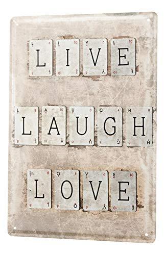 Blechschild Nostalgie Motiv Live Laugh Love Metall Wand Schild 20X30 cm