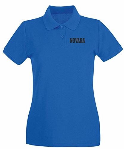 T-Shirtshock - Polo pour femme WC0992 NOVARA ITALIA CITTA STEMMA LOGO Bleu Royal