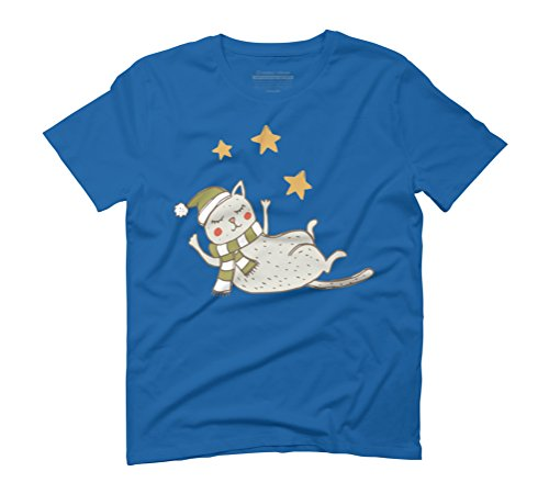 Little Gray Napping Christmas Cat Men's Graphic T-Shirt - Design By Humans Royal Blue