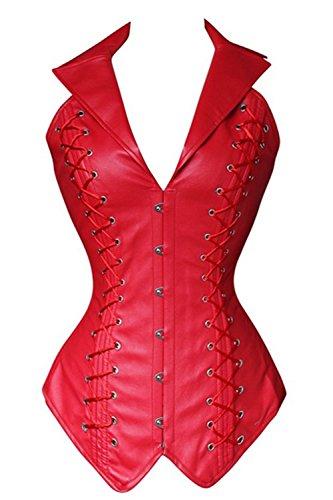 Plus Steampunk Kostüme Größe (BSLINGERIE® Schwarz Openbust Steampunk Korsett-Bustier Wäsche Plus Size Corsage, Rot,)