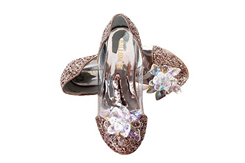 ELSA & ANNA® Ultimo Design Ragazze Buona qualità Principessa Regina delle Nevi Gelatina Partito Scarpe Sandali GLD13-SH (GLD13-SH, Euro 35-Lunghezza 23.1cm)