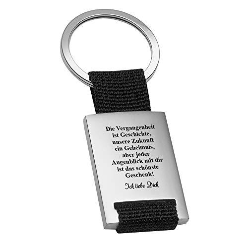 Schlüsselanhänger Vergangenheit mit Gravur Schwarz - Personalisierte Geschenke für Männer, Frauen - Romantisches Geschenk für Freund und Freundin