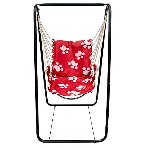 AMANKA Balançoire complète: Chaise + châssis en métal pour Les Enfants et Les Adultes avec accoudoirs et Dossier en Nylon rembourrée pour la Maison et Le Jardin Rouge avec Empreintes de Chat