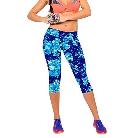 Taille haute Imprimé Sport Yoga Pantalon Étendue Leggings par Reaso (S/26, Bleu)