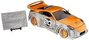 Dickie Toys 253745001 2003 Nissan 350Z, Wave 1, vehículo Die-Cast con Rueda Libre, Jada Toys 20 años de Aniversario, Plata de Metal Cepillado
