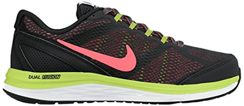 Nike Dual Fusion Run 3 (Gs) Calzatura, Grigio/Blu/Nero/Bianco, 37.5 Nero/Lime/Rosa/Bianco