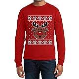 Hässliches Weihnachten Langarm T-Shirt Rudolph Rudolf Rentier XX-Large Rot