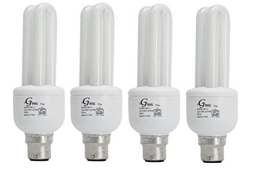 Made in India - 11 Watt - CFL 2 Tube (Compact Fluorescent Light) - Pack of 4 Bulbs - ISO 9001 2008 certified - Glean Lights
