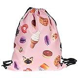 Oflamn Turnbeutel Sportbeutel JutebeutelGym Bag Gymsack Hipster Rucksack T-Bags für Damen Herren Kind (rosa EIS)