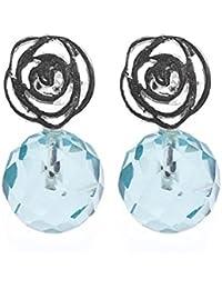 Córdoba Jewels | Pendientes en plata de Ley 925. Diseño Flor Agua Marina