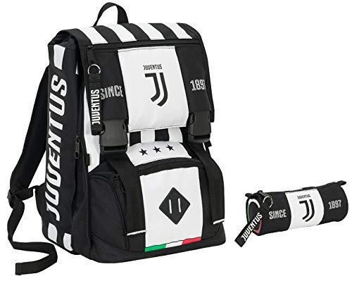 Zaino estensibile JUVENTUS + Portapenne - Bianco&Nero - Gadget abbinato - Rete porta pallone!