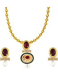 Traditional Gold Plated Red Oval Kundan Necklace Set With Artificial Pearl By Parisha Jewells NL707003