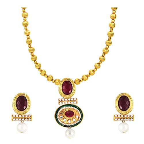 Traditional Gold plated Red Oval Kundan Necklace set with artificial pearl by Parisha Jewells NL707003  available at amazon for Rs.349