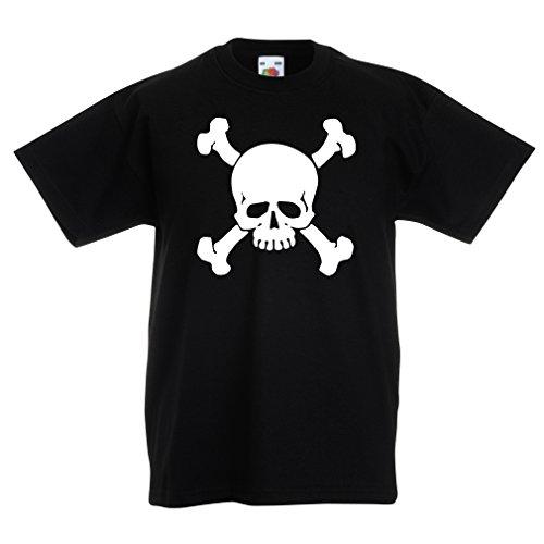 Kinder T-Shirt Totenkopf, Warnzeichen - Nicht berühren (7-8 Years Schwarz Weiß)