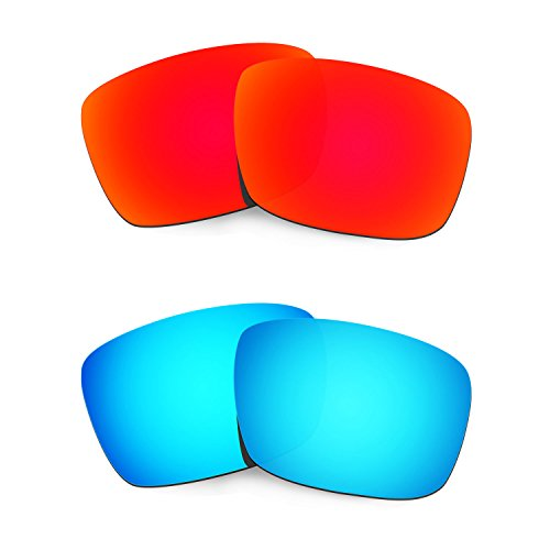 HKUCO Plus Mens Replacement Lenses For Oakley Fuel Cell Sunglasses Red/Blue Polarized