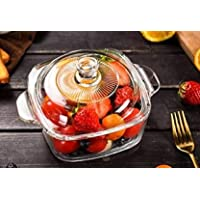 SLOOK Microwave Oven Safe Serving Bowl (1 LTR) with Lid | Tempered Glass, for Rice and Boiling Food, Set of 1
