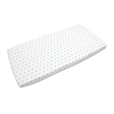 Baby Spannbettlaken 90x40, 70x140, 90x200 Bettlaken mit Gummizug 100% Baumwolle Kinder Spannbetttuch, Farbe: Sterne Weiß, Größe: 90 x 200