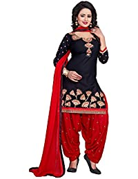 AnK Black & Red embroidered Cotton Dress material Salwar suit With Duptta