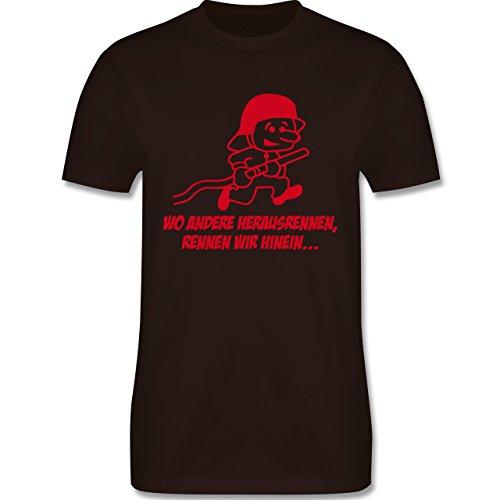 Feuerwehr - Feuerwehr - Wo andere herrausrennen - Herren Premium T-Shirt Braun
